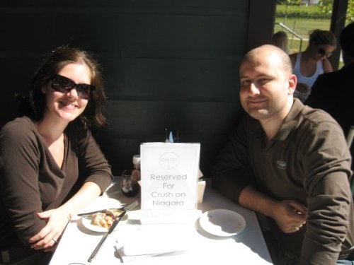 Chris and I having lunch at Ravine