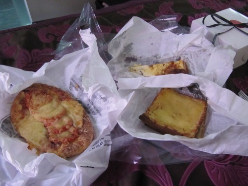 Left to right: Fougasse with tomatoes and goat cheese, Quiche Lorraine, Croque Monsieur