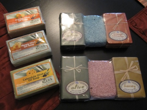 Olive oil soaps and pumice/soap kits