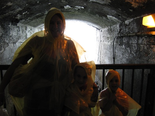 Sue and the girls in the tunnel