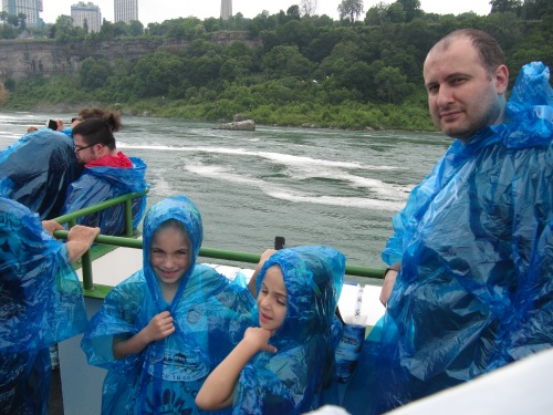 Chris and the girls on the Maid of the Mist boat ride